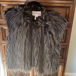 BCBG generation black and gray faux fur vest